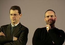 Dino e Filippo Gentili durante la conferenza stampa per Sono viva