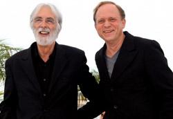 Michael Haneke e l'attore Ulrich Tukur alla presentazione di Das Weisse Band